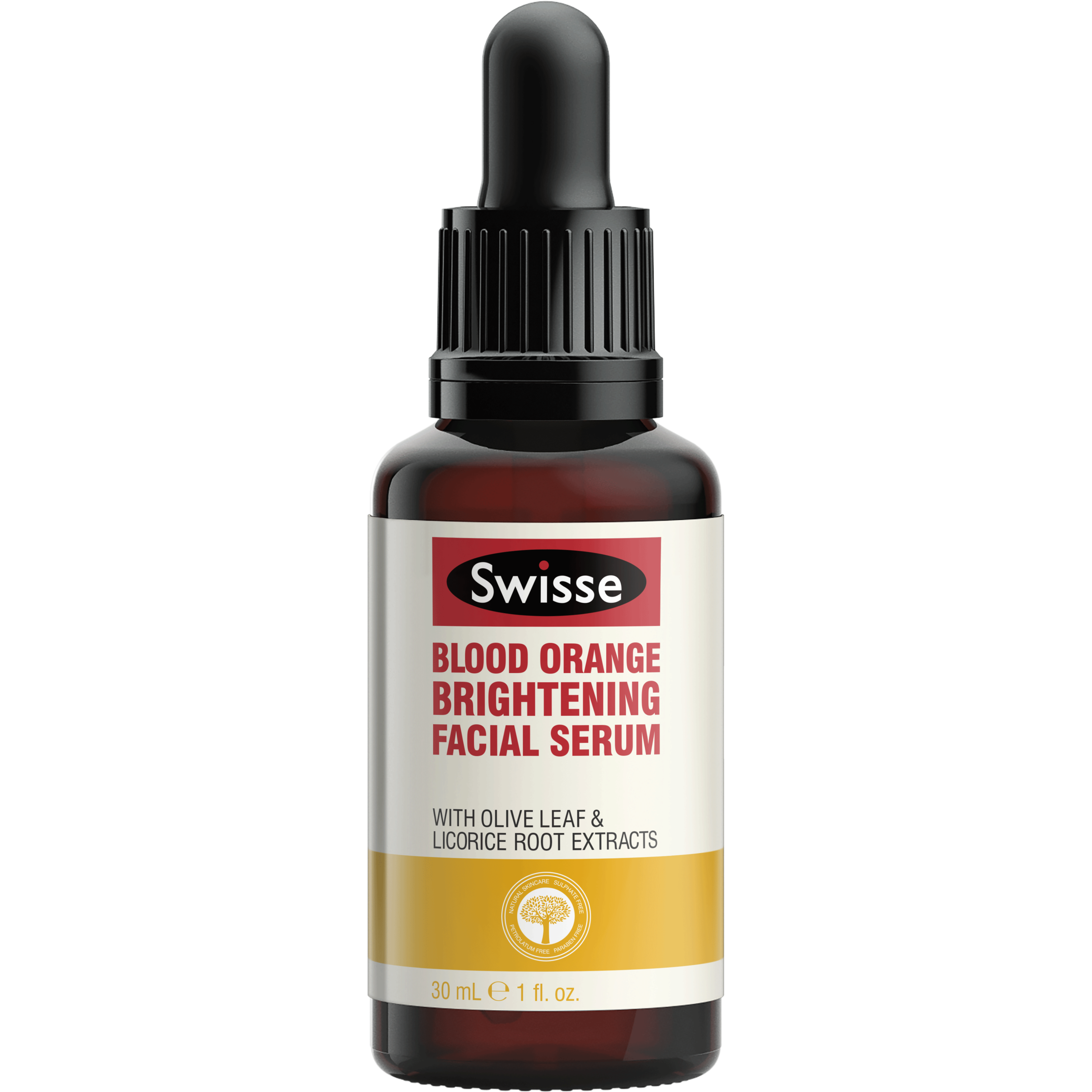 Swisse Blood Orange Brightening Facial Serum in brown bottle with white, yellow and red labelling