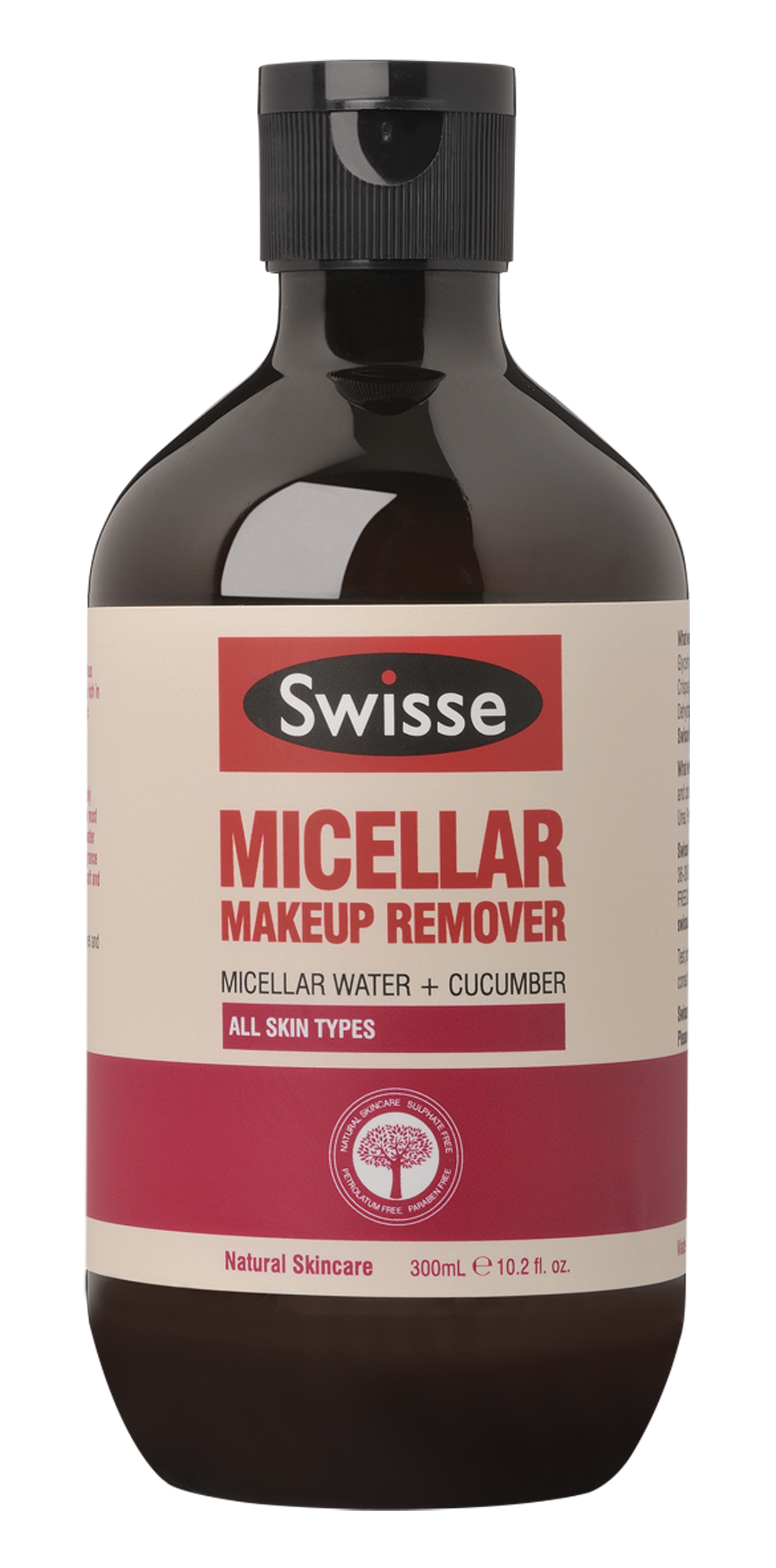 Swisse Micellar Makeup Revmover in brown bottle with white and pink labelling