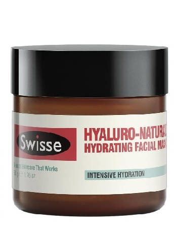 Swisse Hyaluro-Natural Hydrating Facial Mask in brown bottle with red and white labelling