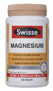 Swisse Ultiboost Magnesium in a white, yellow and beige bottle
