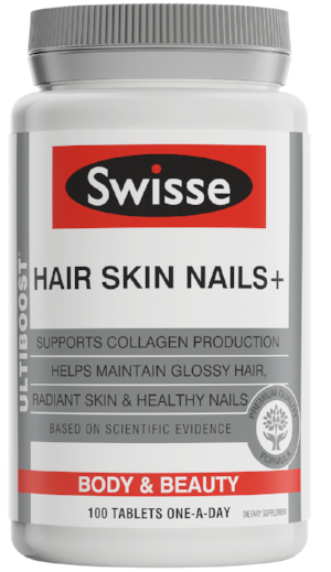 Swisse Ultiboost Hair Nutrition for Women in grey and white bottle