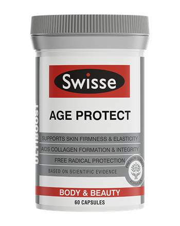 Swisse Ultiboost Age Protect in a grey and white bottle