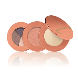 Three shades of Jane Iredale make up products layered agaisnts a white background