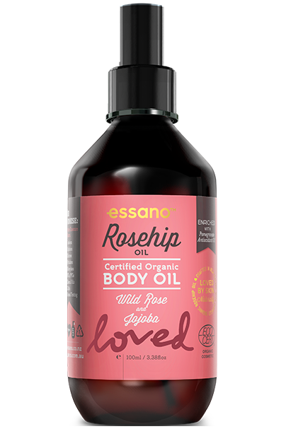 Essano Certified Organic Rosehip Body Oil in pink and brown bottle