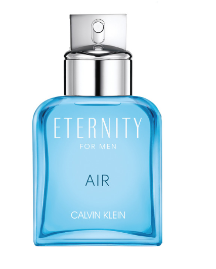 Ocean blue coloured fragrance bottle with silver cap and lettering Eternity for Men Air Calvin Klein