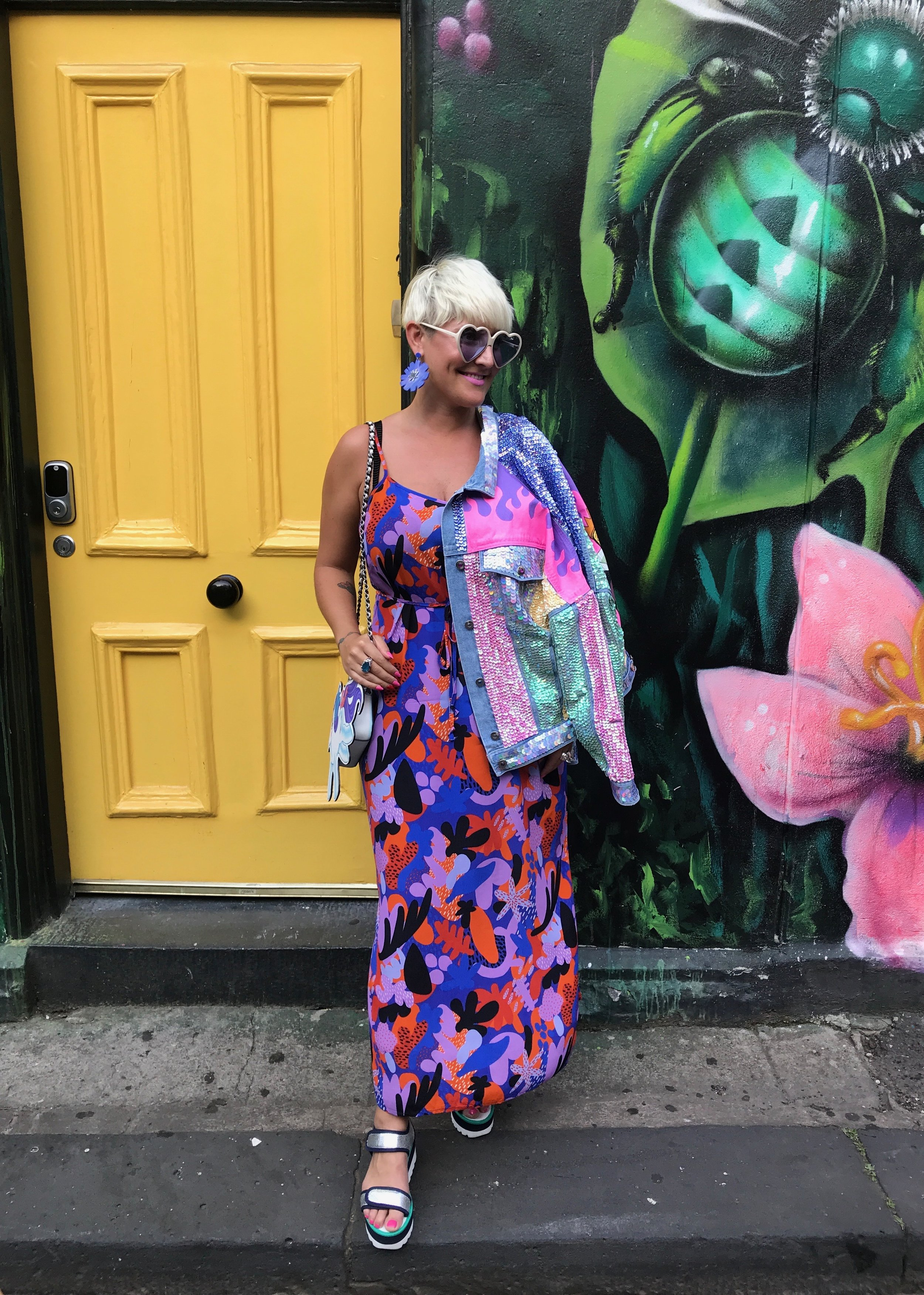 Hilsz with her new sequin denim jacket by Tar Mafia