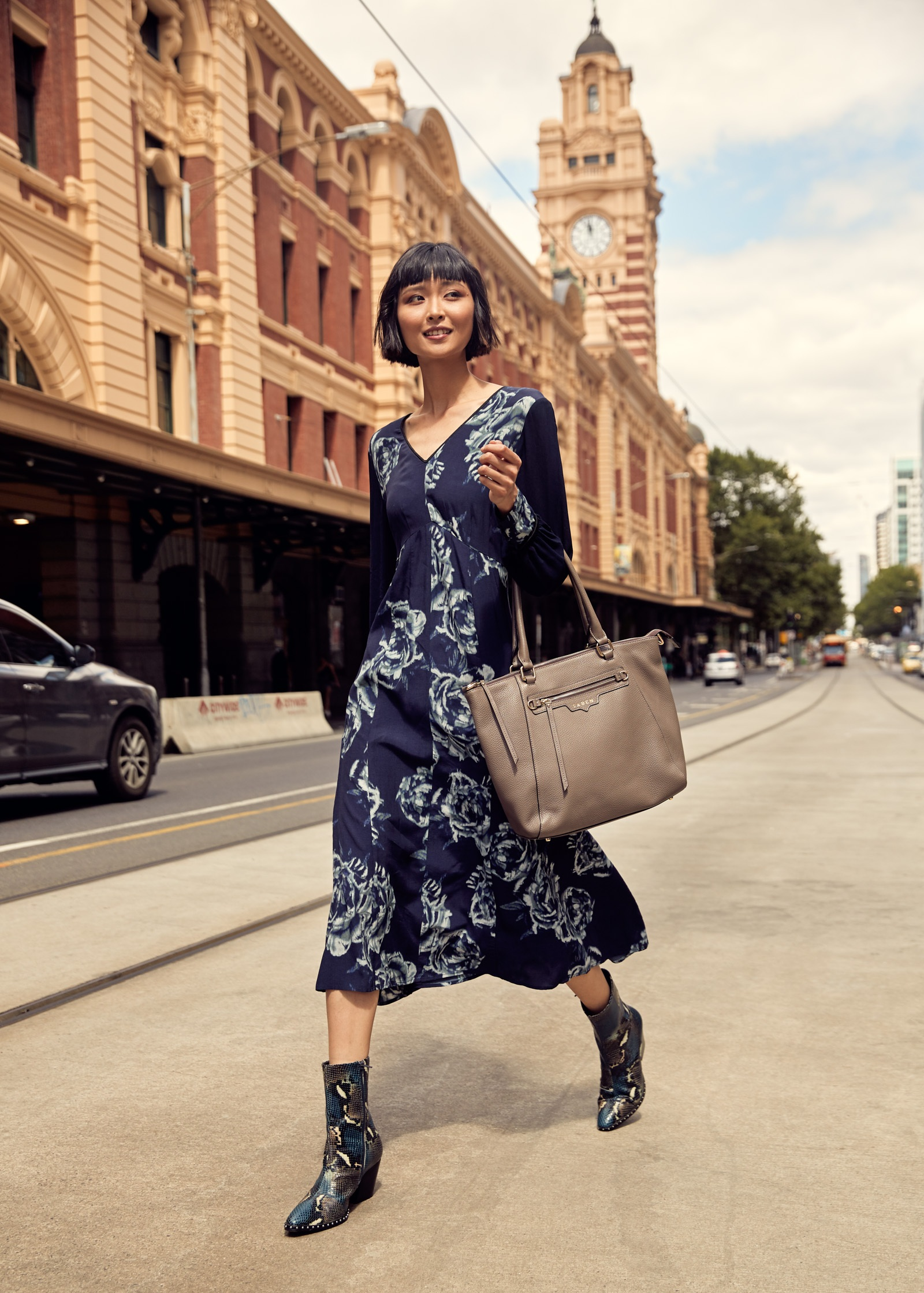 Model  Cynthia Wu  photographed outside Flinders Station in Melbourne. The BeautyEQ travelled to Melbourne with thanks to   Visit Melbourne  .