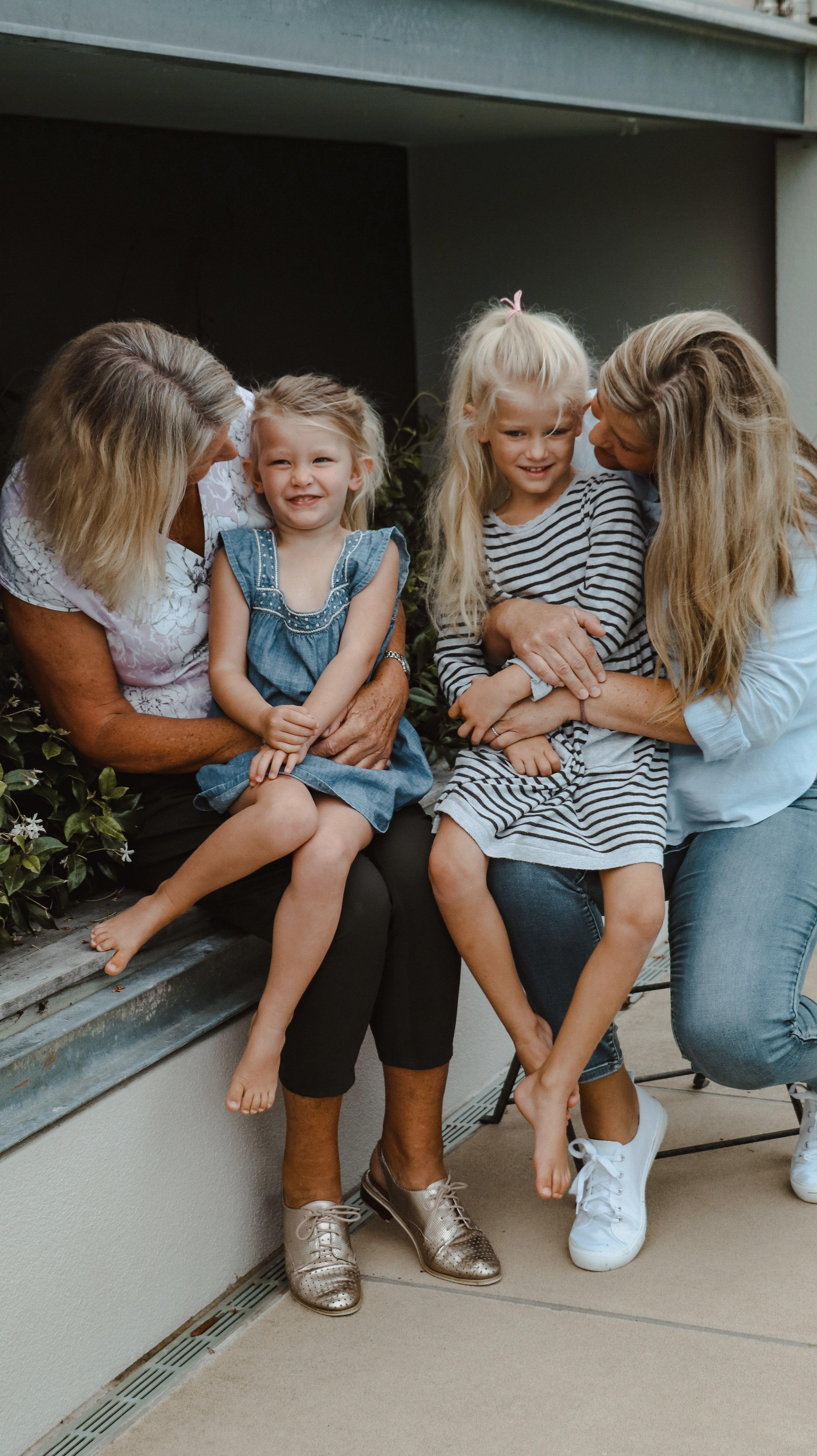 Three generations of Blair women, Brigit and Juliet with Juliet's daughters