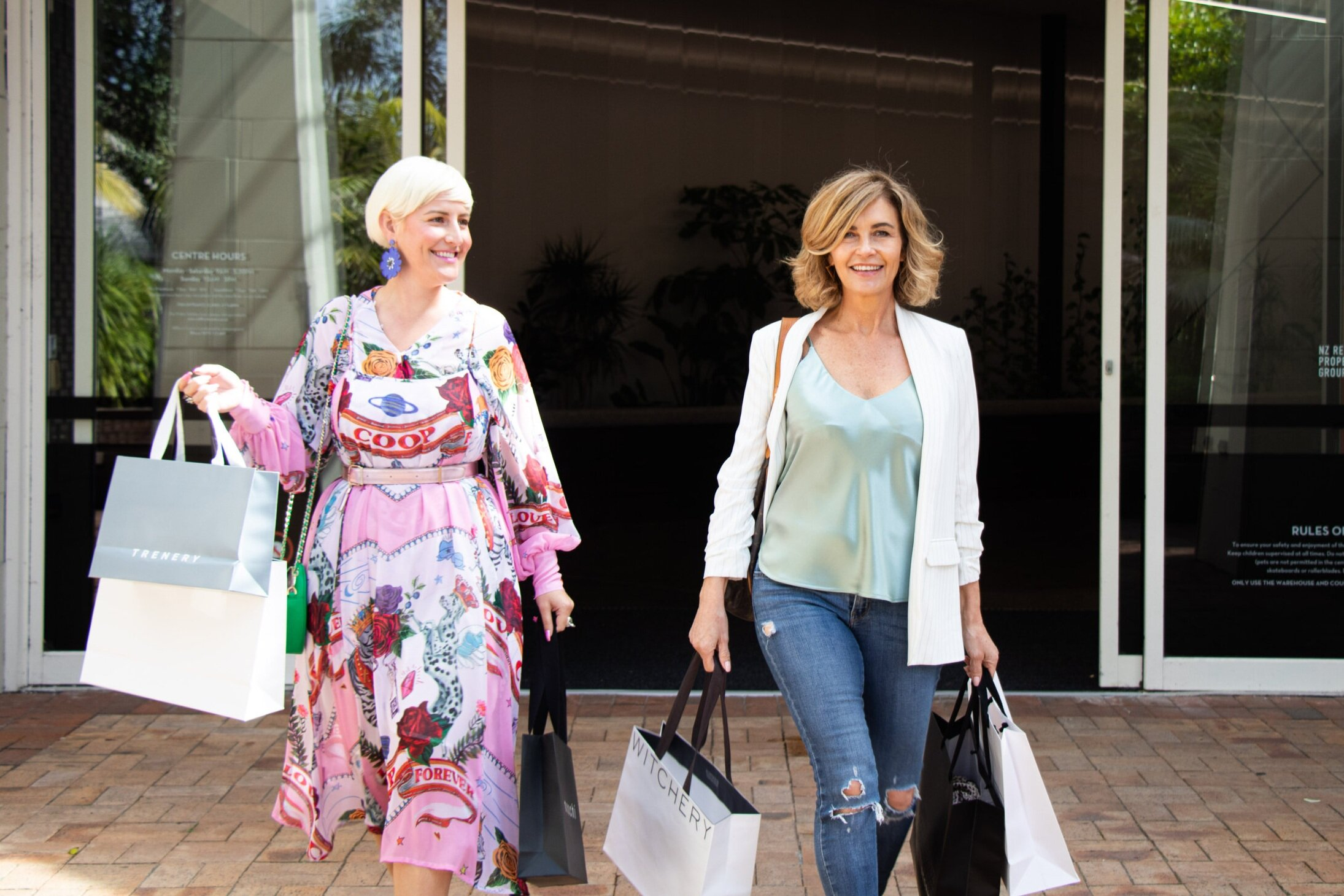 Editor Trudi Brewer and style director Louise Hilsz shopping at Milford Centre.