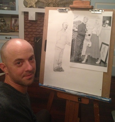 Kris Finch working on a drawing in San Diego, California 2014