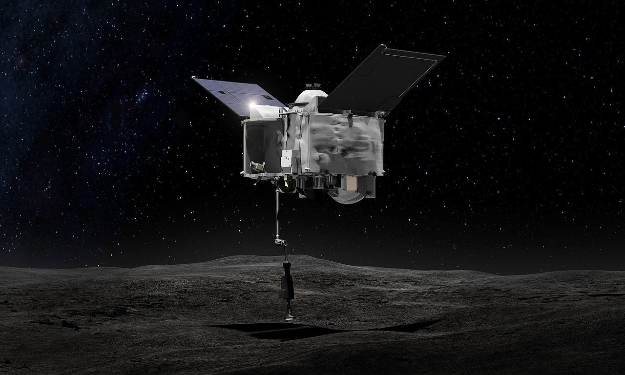 Artist conception of OSIRIS REx during asteroid sampling