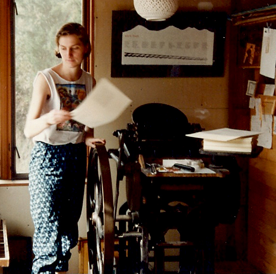 Printing my first book, Making Poetry Appear, at Laughing Dog Press on Vashon Island, Spring 1990.