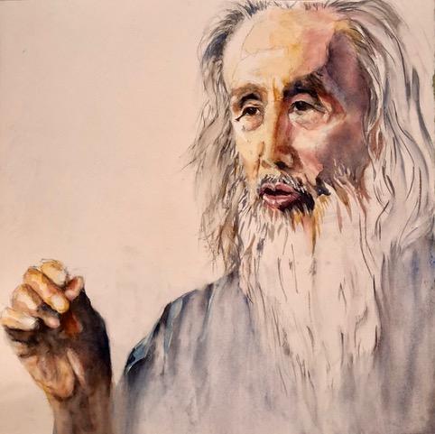 Watercolor Portrait of Kazuaki Tanahashi by Padma Wick