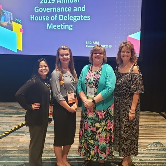 WSRT Delegates Chairman of the Board Tracy Bailey and former Chairman Brenda Eldridge with SLDP Students Kim Bellingar and Realyn Stratton. @ASRT Annual Meeting in Florida. Thank you all for your hard work for our state! #ASRT2019