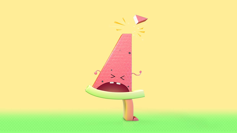 4 -watermelon slice who lost his toupée