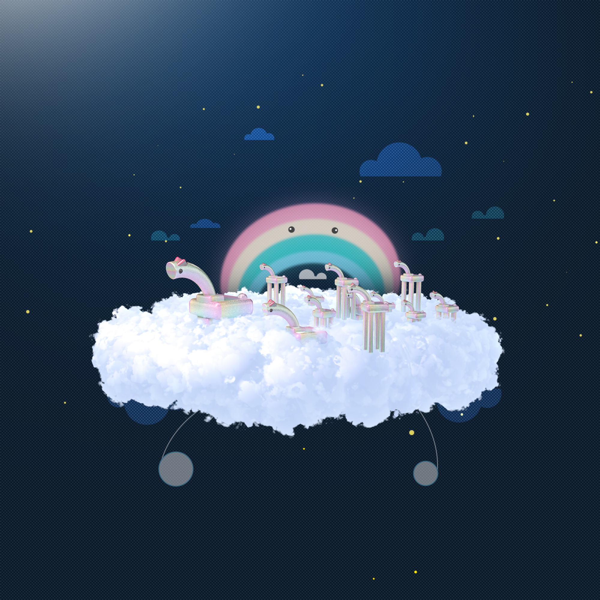 Horses in the cloud with their rainbow daddy