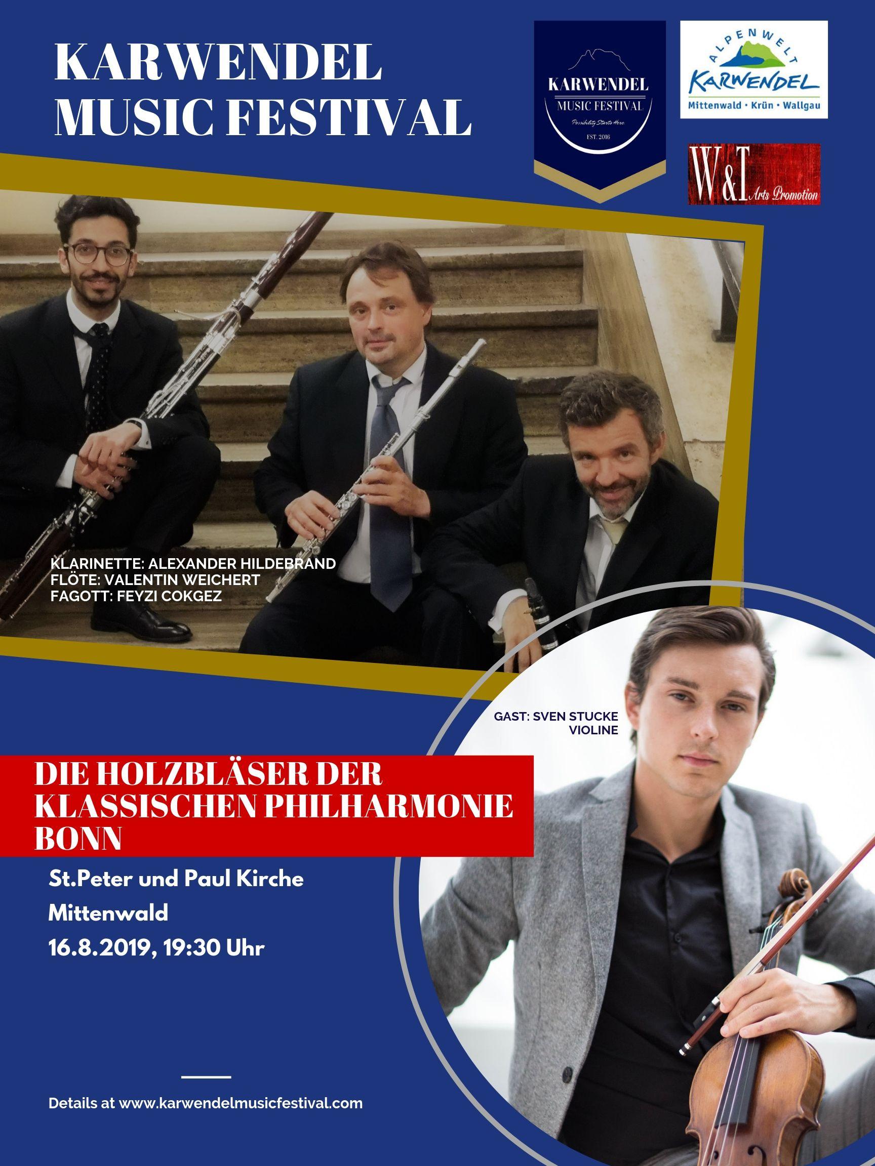 Die Holzbläser der Klassischen Philharmonie Bonn - 16.08.2019 , 19:30 Uhr