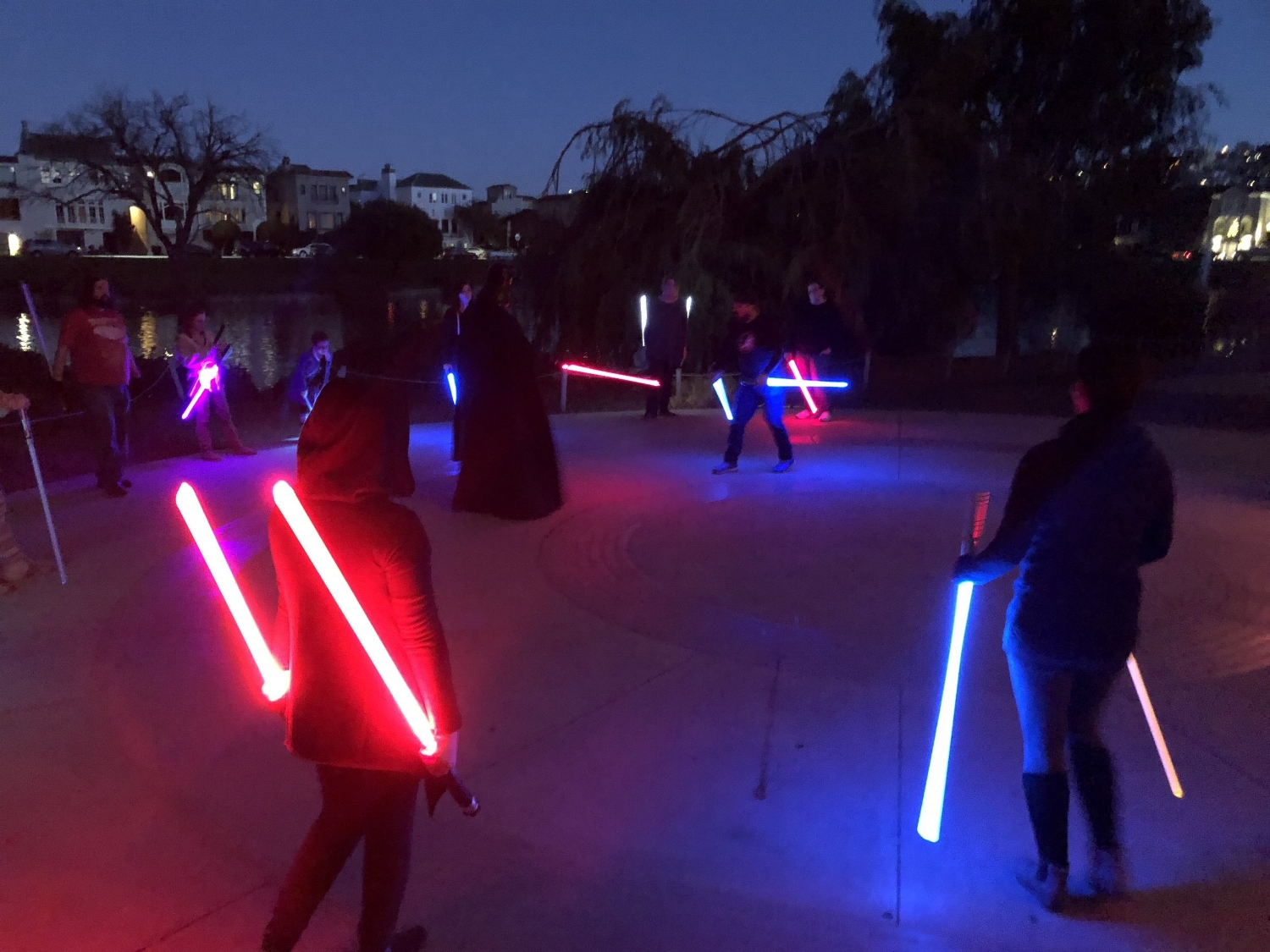 Learning reverse grip combat with Saber Guild  (Photo: Bianca Hernandez / KQED)