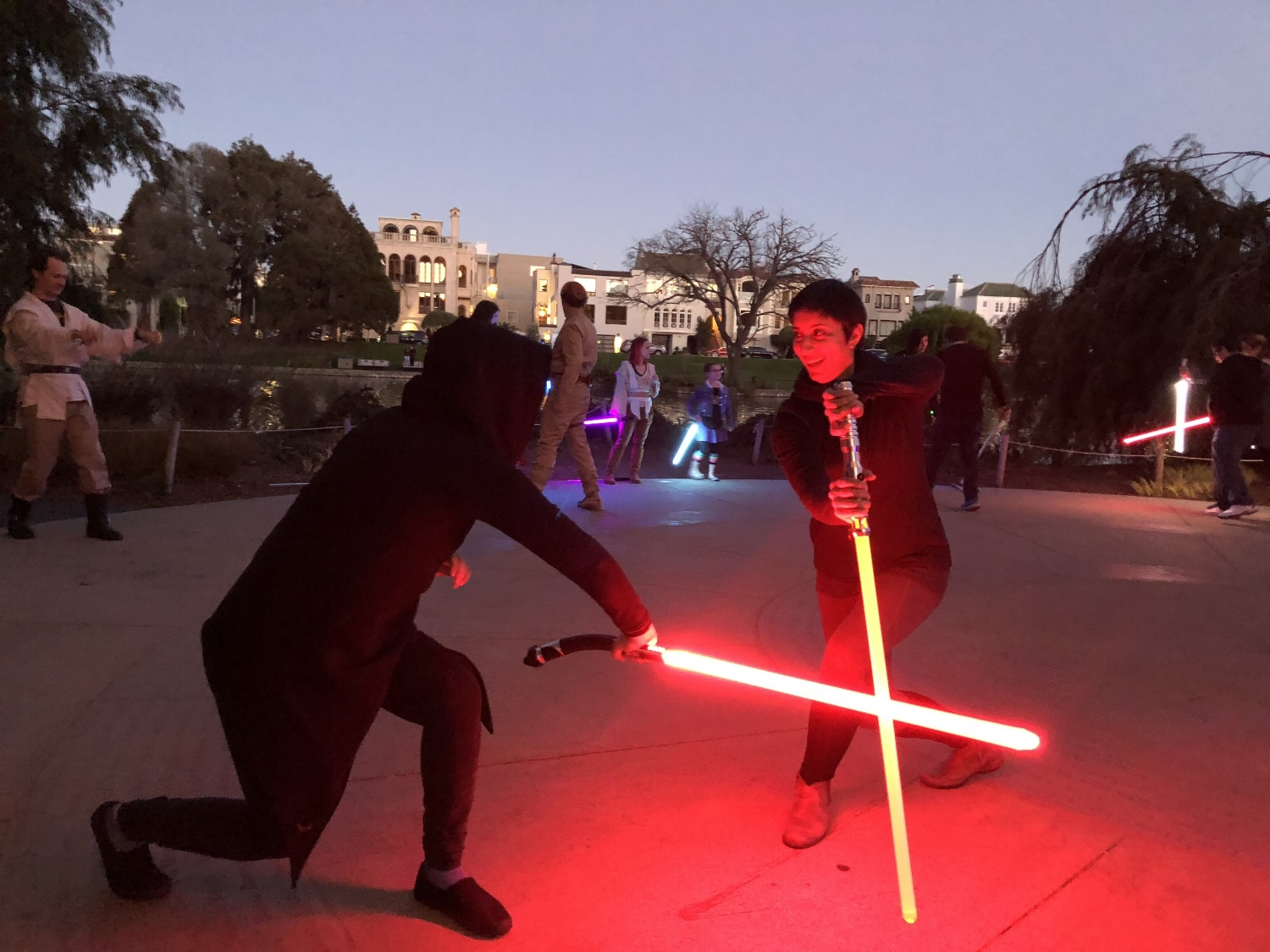 Curious about joining a class? - Shawna is featured in a recent KQED news article about lightsaber choreography groups in the Bay Area. From Fitness to Fencing: Fans Learn How to Fight Star Wars Style