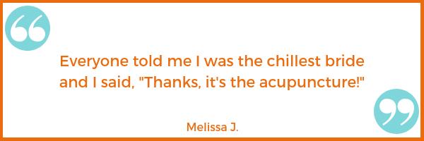 bride wedding anxiety testimonial Melissa J. Shawna Seth, L.Ac. acupuncture San Francisco