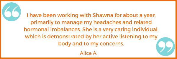 migraine testimonial Alice A. Shawna Seth, L.Ac. acupuncture San Francisco Oakland