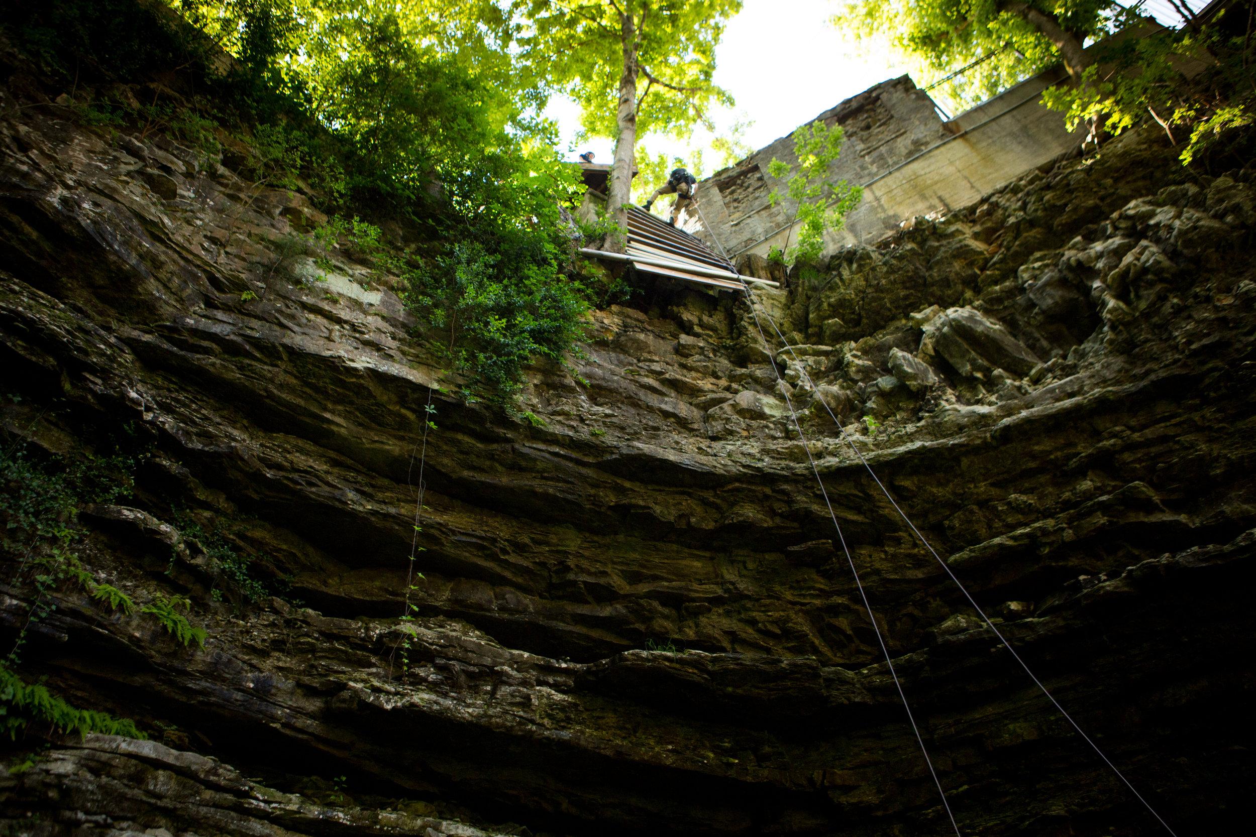 Rappelling  Hidden River Cave Kentucky