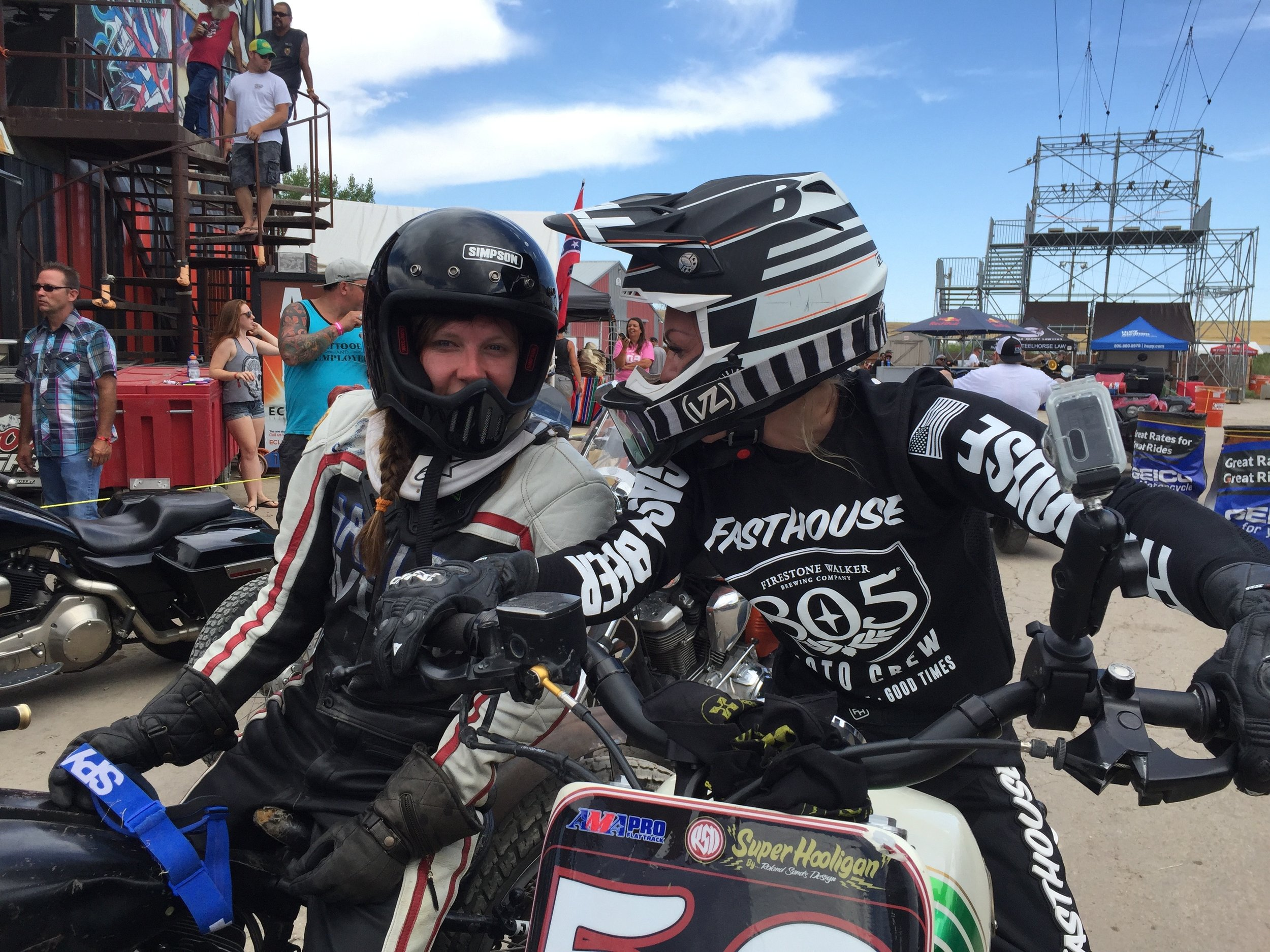 Leticia Cline and Britney Olsen Flat Track Racing Sturgis