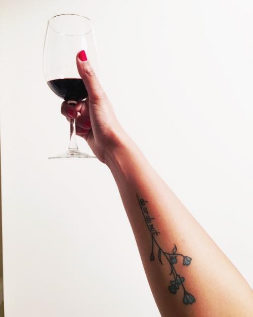i call this: me, my tattoo, and the glory of wine.