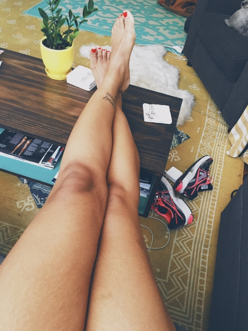my legs look longer here. they don't feel this long. you can sort of see my stretch marks. and a bruise on my leg.