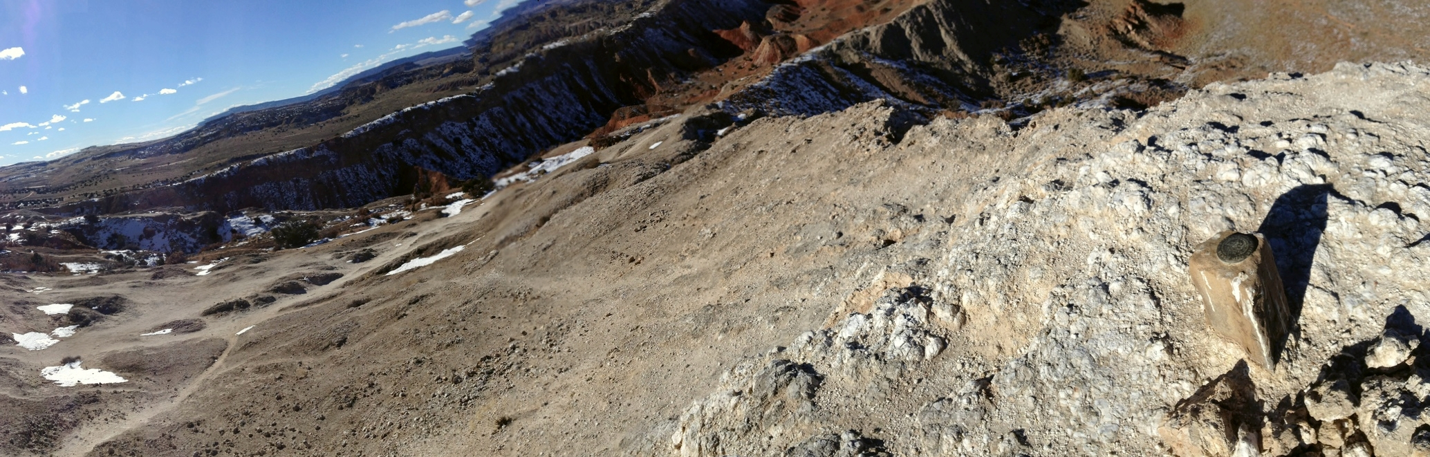 My view of crusty soil atop white gypsum rock on a recent hike of White Ridge in northwest New Mexico