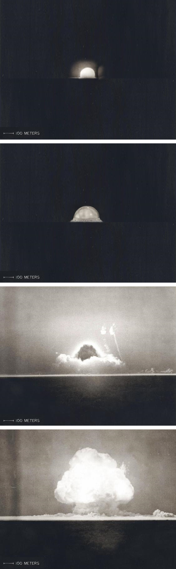 Photos from the first nine seconds following the Trinity detonation, arranged to scale