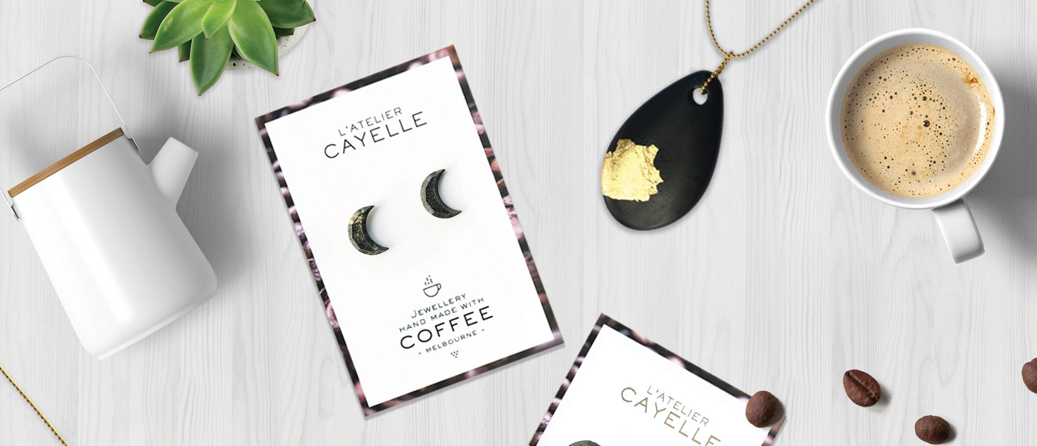 Sustainable and Delicious - Discover and shop our Coffee Jewellery. Carefully crafted with recycled coffee grounds.