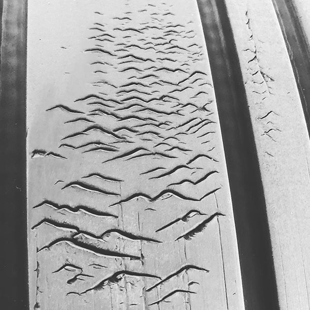 It takes incredible force and pressure to create a mountain range.  The same goes to create one in the tread of an airbus a319 tire.