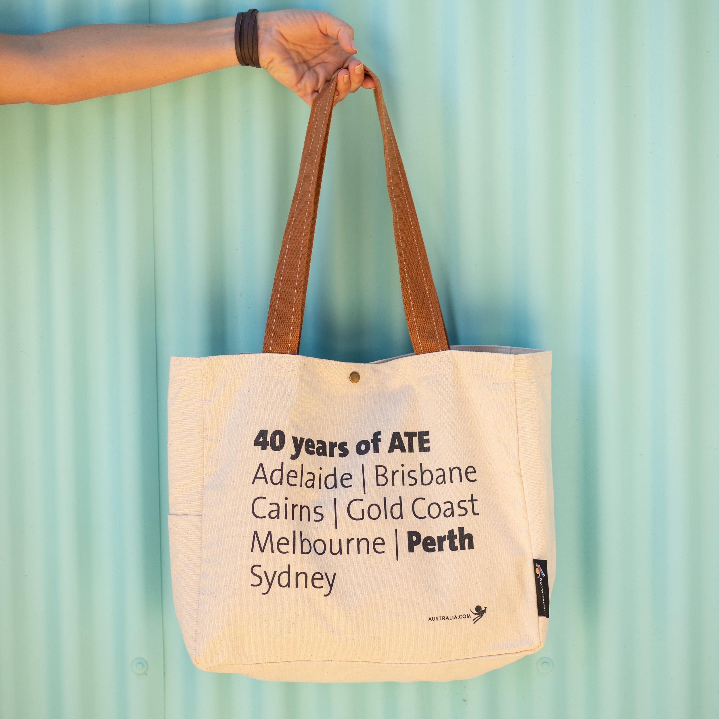ATE Tourism Australia Custom Tote bags - held.jpg