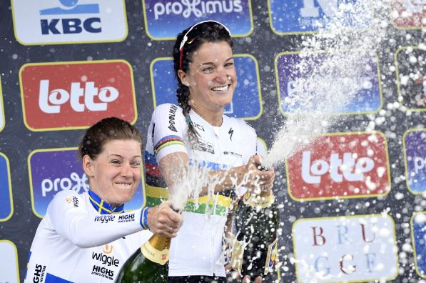 Lizzie Armitstead had better luck with her champagne bottle