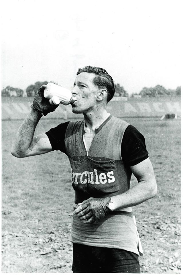 The original Coloral bottles, seen here being used by British cyclist Ken Joy, were made of aluminium.  Image: CW Archives