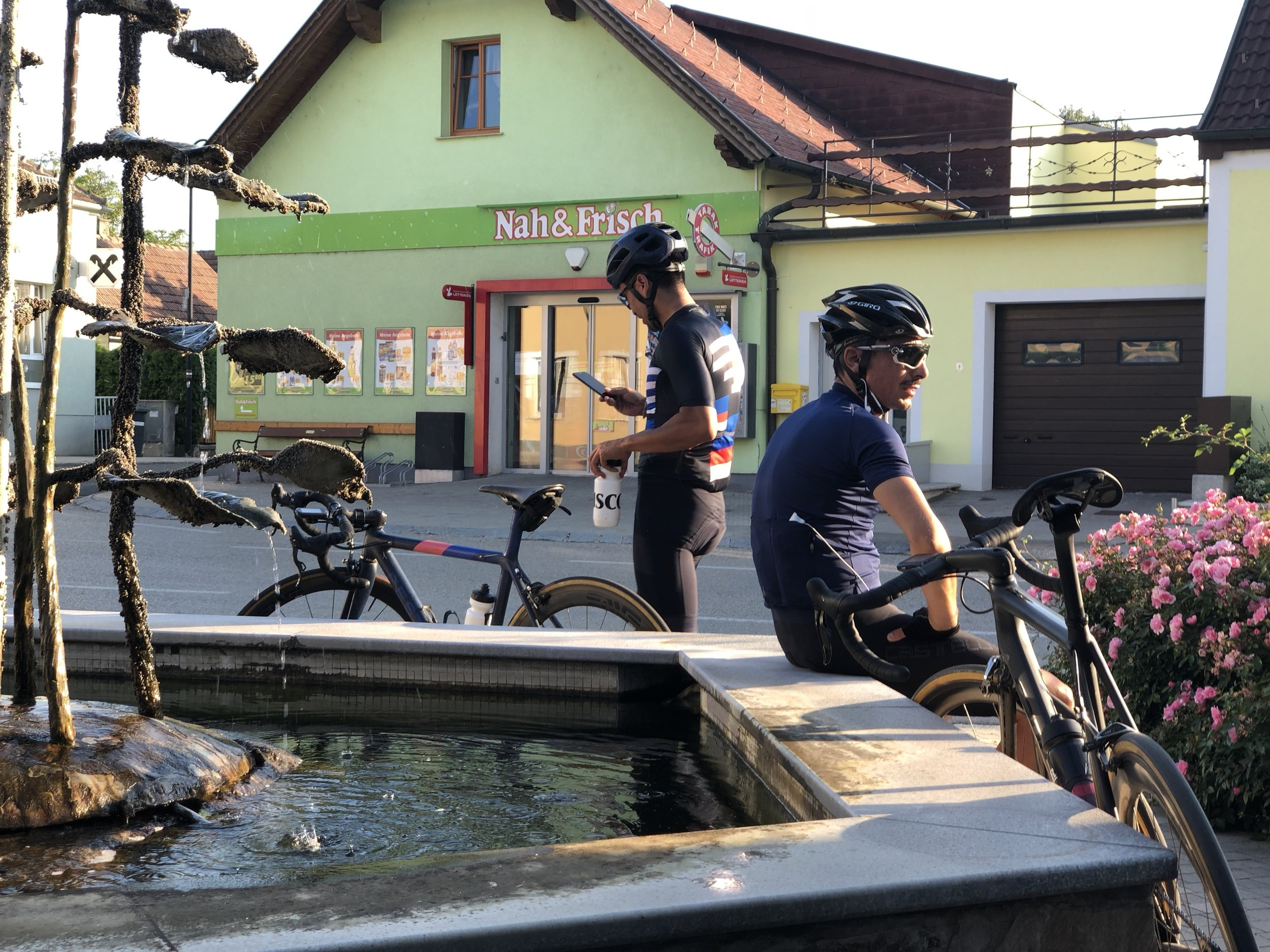 Many villages feature water fountains to allow cyclists to fill their bidons