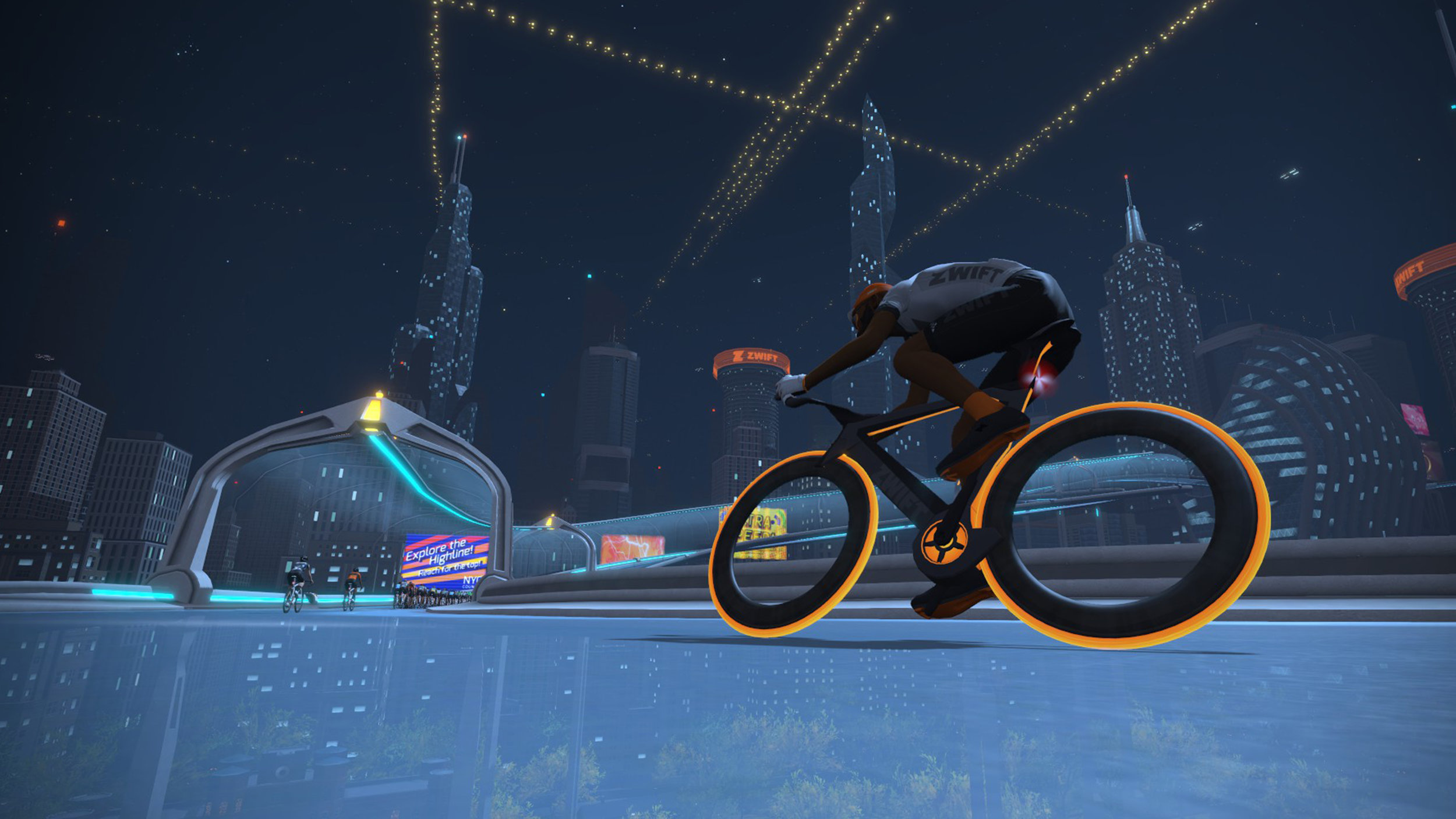 The Zwift NYC KoM climb soars up among the skyscrapers in the virtual world
