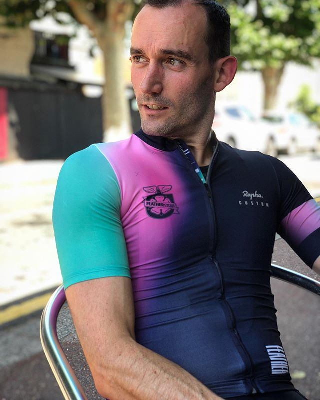@benminton rocking the impressive @feathercycles @rapha_uk custom jersey. 🔥. Total custom 😎 . . . . . . #Cycling #Instacycling #Roadcycling #Cyclingkit #Newkitday #Cyclinglife #Cyclingshots #Cyclingphotos #Cyclingapparel #Bikelife #WYMTM  #Roadslikethese #Lightbro #Kitdoping #Bikeporn #Cyclingstyle #WTFkits #Cyclingculture #Instabike #Bike #Fromwhereiride