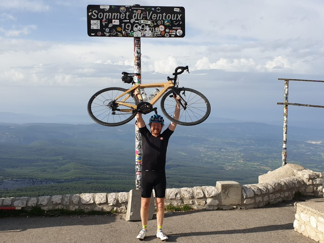 Dave Johnson has now completed two ascents of Mont Ventoux, but only one on a wooden bike