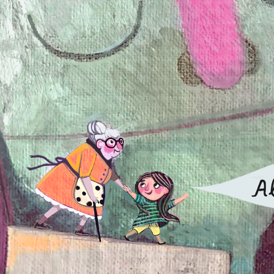 Detail of Ruthie and Gran in the Andes