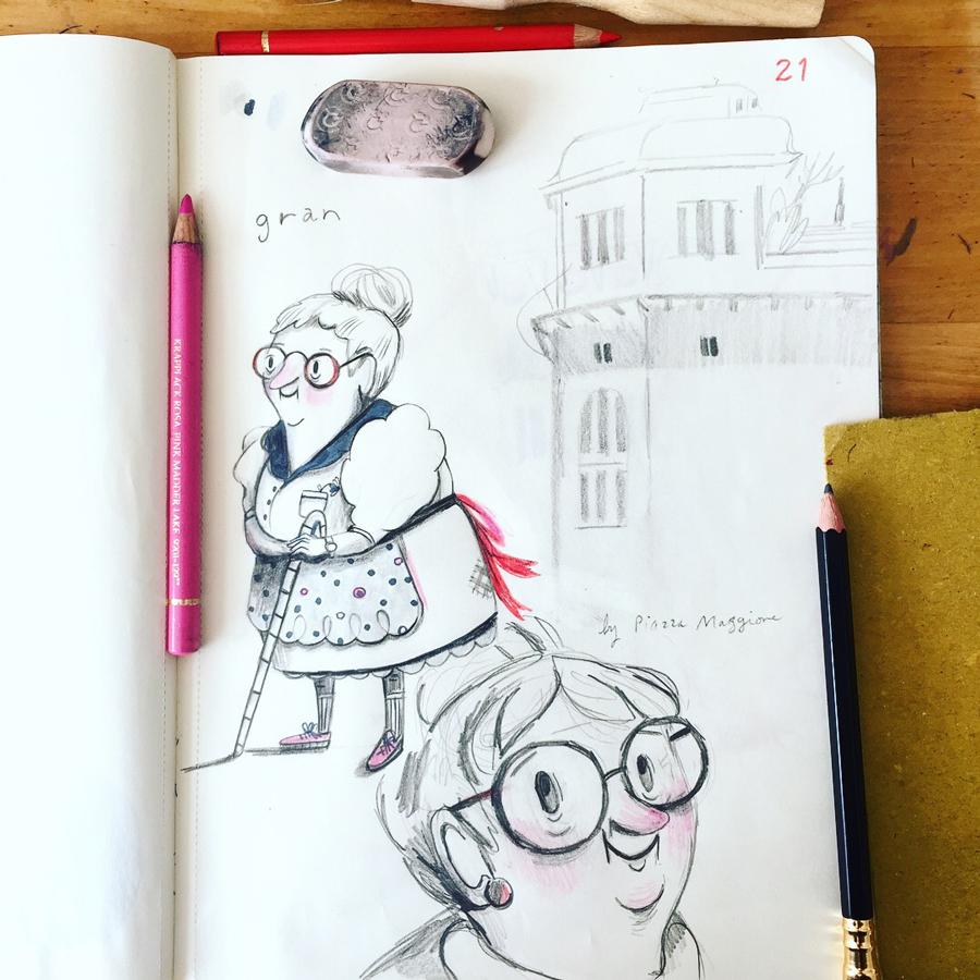 The beginnings of Gran, in my sketchbook