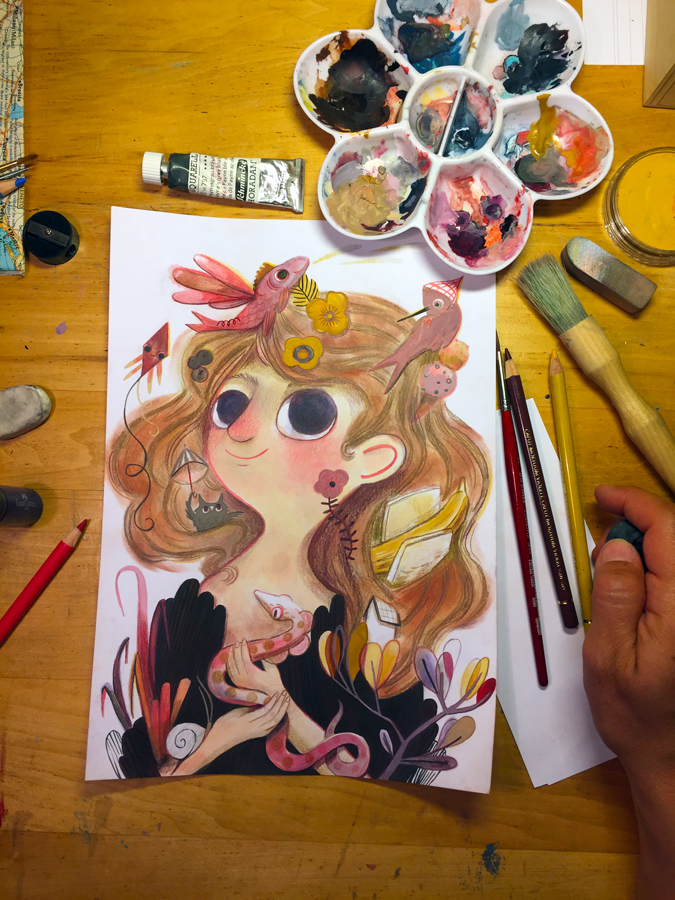In process...I used pastel, color pencils and gouache in this piece.
