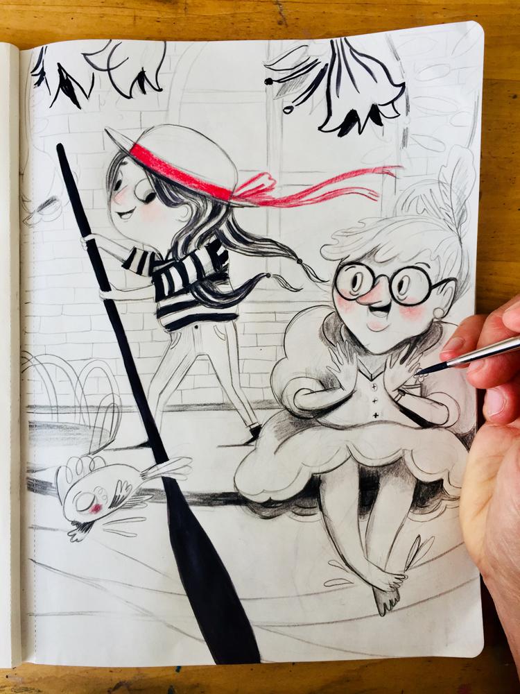 Ruthie and Gran in Venice, in my sketchbook