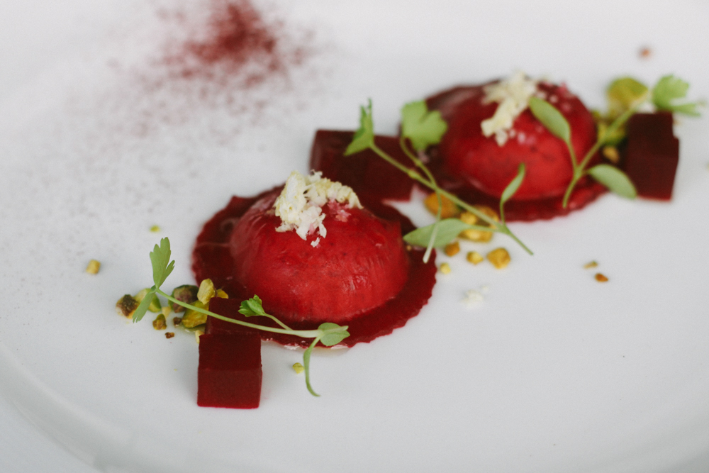 Ravioli of finely sliced picked beetroot