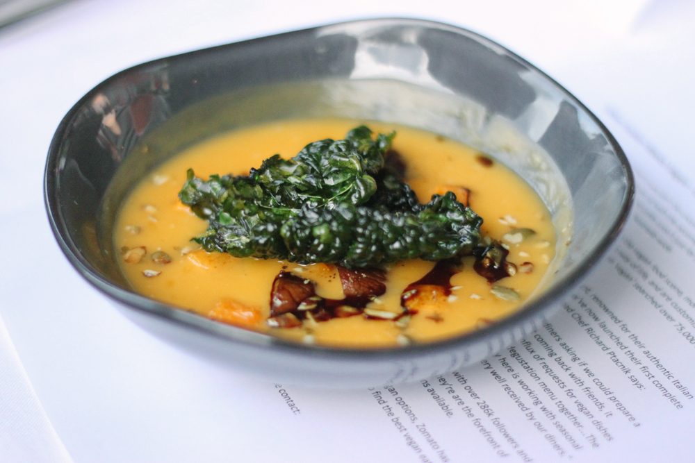 Roasted pumpkin soup, mushrooms, cavolo nero.