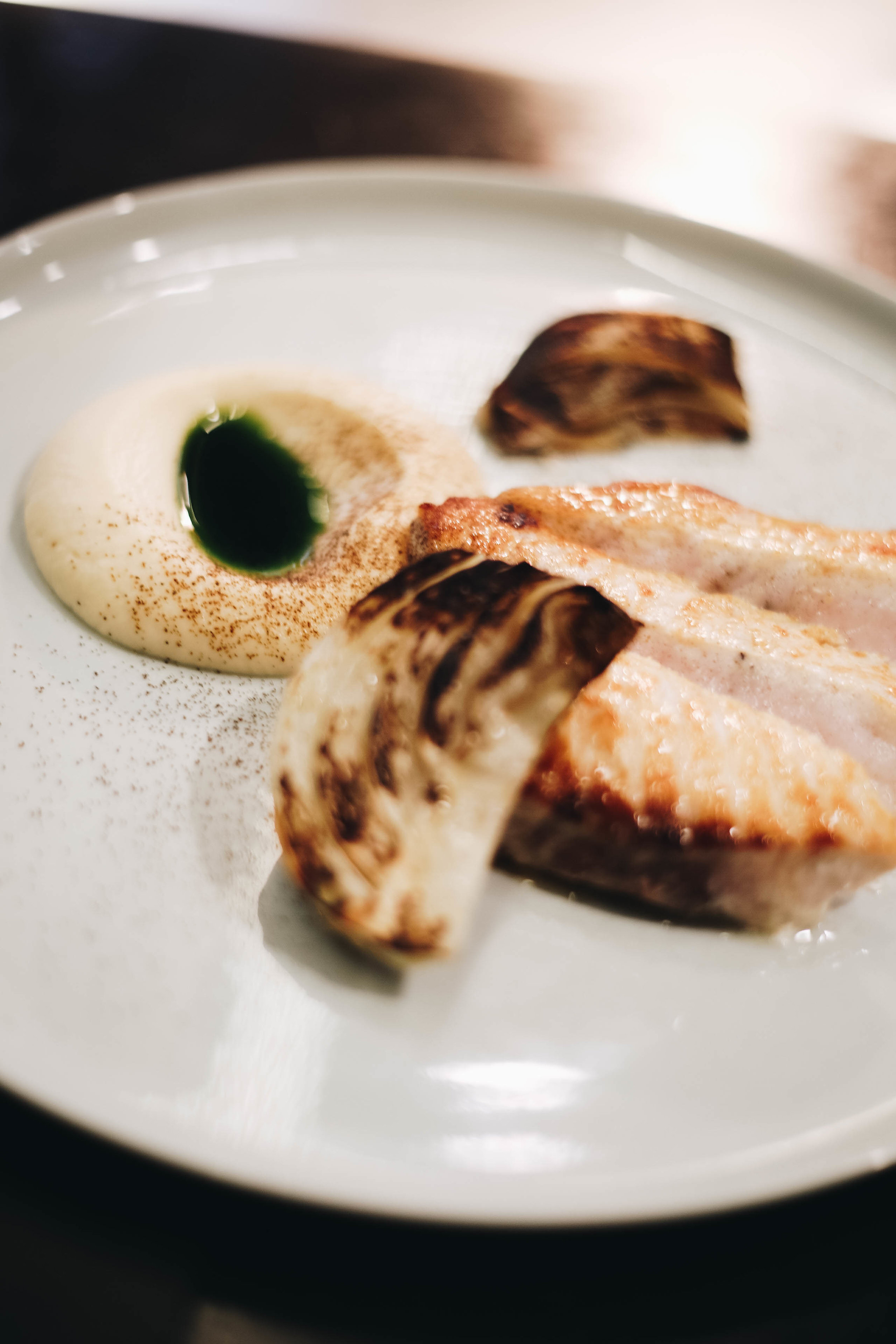 Swordfish with burnt fennel and onion ash
