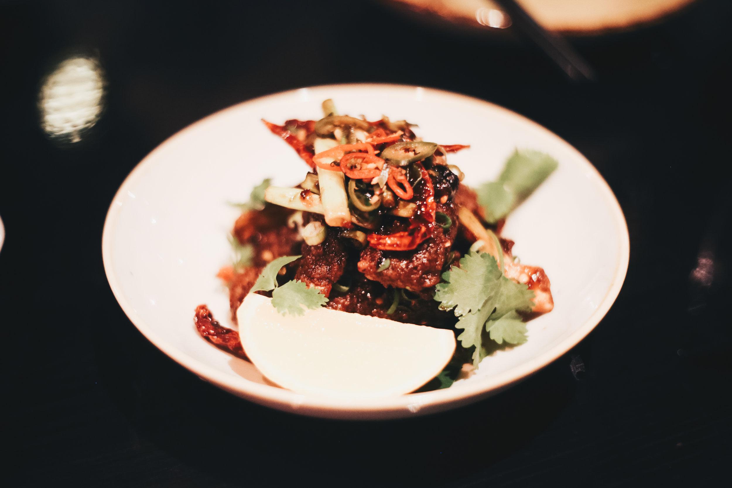 Wok fried lamb ribs with black bean & shallot