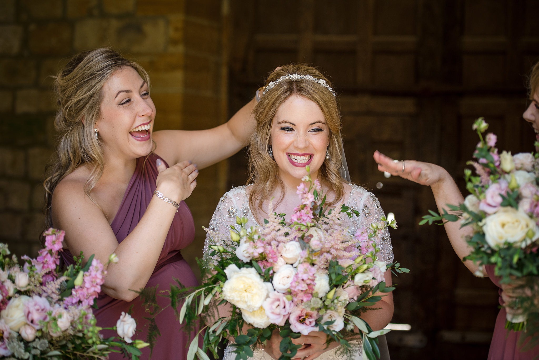 Bride and Bridesmaid's hair and make up by Powder and Pin - Photography by Penny Young; https://www.pennyyoungphotography.com/