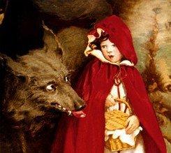 Az éhes farkas kiszemeli a szeretetteljes Piroskát